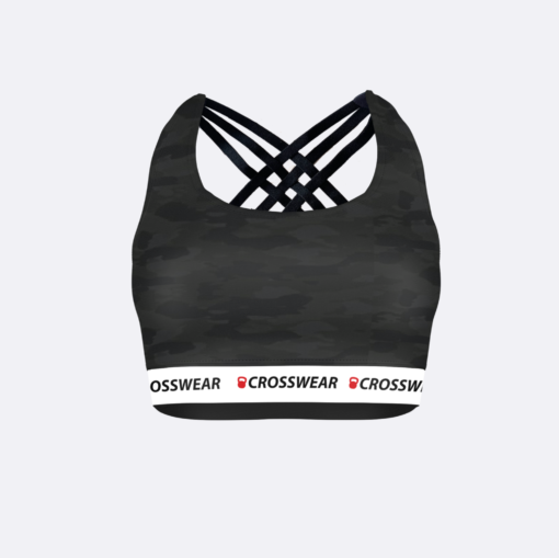 CW cross stripe bra Crosswear WOD black camo